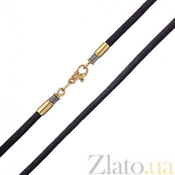 Тканевый шнурок Оберег с серебряной черненой застежкой в евро позолоте HUF--5525/3-З ев.ш