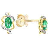 Золотые серьги с изумрудами и бриллиантами Фрида