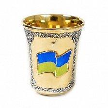 Серебряная стопка Слава Украине с тризубом, позолотой и синей эмалью
