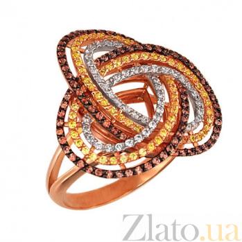 Золотое кольцо Фейерверк с фианитами VLT--ТТ1010-4