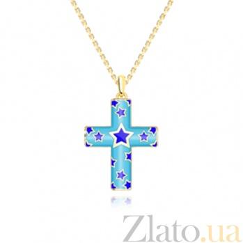 Золотой крест с цветной эмалью Пифагор на цепочке 000029732