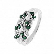 Серебряное кольцо Колосок с изумрудами и бриллиантами