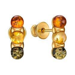 Серебряные серьги-пуссеты в позолоте с янтарем 000149091