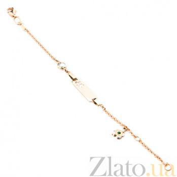 Золотой браслет с цветной эмалью Ромашка ONX--б01950