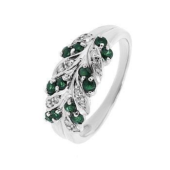 Серебряное кольцо с изумрудами и бриллиантами 000022193