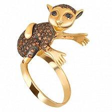 Кольцо из желтого золота с фианитами Мартышка