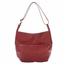Кожаная сумка на каждый день Genuine Leather 8695 красного цвета на молнии с регулируемым ремнем