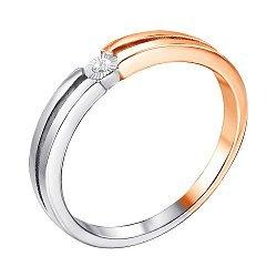 Каблучка на заручини в комбінованому кольорі золота з діамантом і алмазною гранню 000131414