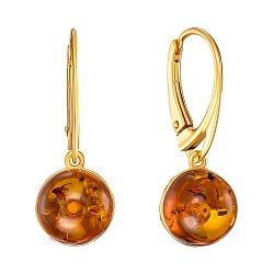 Серебряные серьги-подвески с янтарем и позолотой 000139172