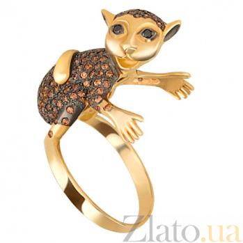 Кольцо из желтого золота с фианитами Мартышка VLT--ТТ1186