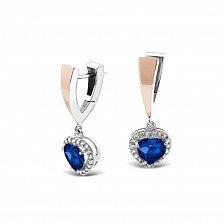 Серебряные серьги-подвески Асия с золотой вставкой, синим алпанитом и фианитами