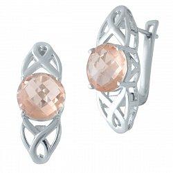 Серебряные серьги с морганитами nano 000128560