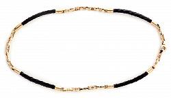 Кожаный шнурок Вэйланд со вставками золотой цепи Baraka и бриллиантом