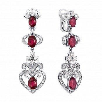 Золоті сережки-підвіски в білому кольорі з рубінами і діамантами 000127078
