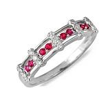 Кольцо Эмма из белого золота с бриллиантами и рубинами