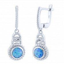 Серебряные серьги-подвески Плетенка с голубыми опалами