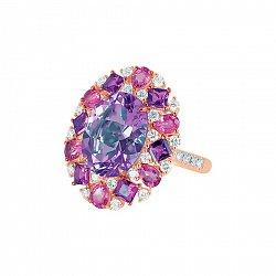 Кольцо из красного золота Эвелина с бриллиантами, аметистом и розовым турмалином