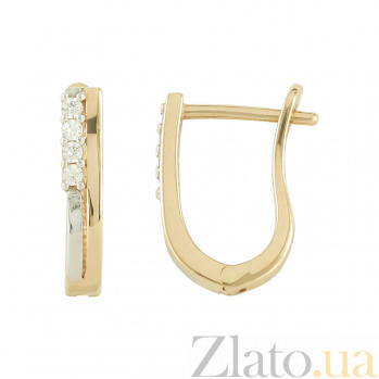Золотые серьги с фианитами Кандида 2С304-0076