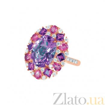 Кольцо из красного золота Эвелина с бриллиантами, аметистом и розовым турмалином 000080900