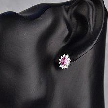 Серебряные серьги Малинка с розовыми топазами и фианитами