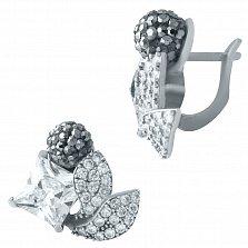 Серебряные серьги Ягодки ежевики с кристаллами Swarovski и фианитами