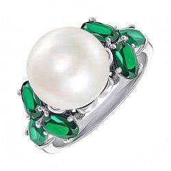 Серебряное кольцо с жемчугом и зеленым агатом 000139282
