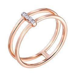 Кольцо из красного золота с цирконием 000139819