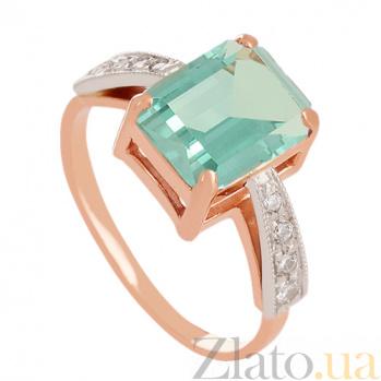 Золотое кольцо Айлин с синтезированным аметистом и фианитами 000024288