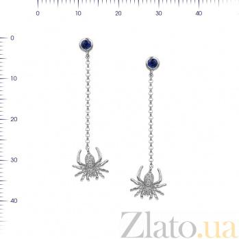 Серьги-подвески из белого золота Паучок с бриллиантами и сапфиром 000081222