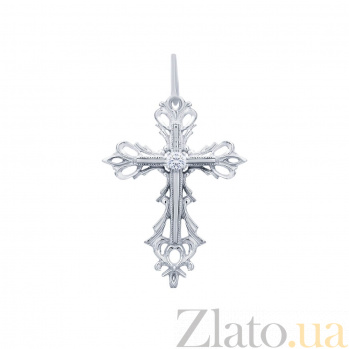 Серебряный крест с цирконом Яркое будущее AQA--3046