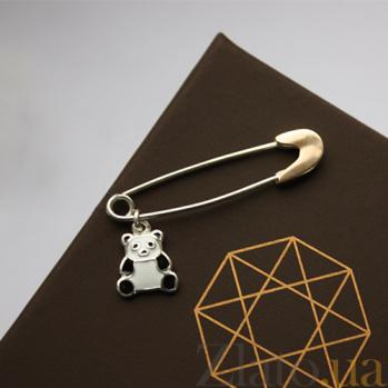 Серебряная булавка с золотой вставкой Панда 000035887