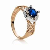 Золотое кольцо Миралис с синтетической шпинелью и фианитами