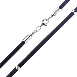Каучуковый шнурок Ларон с серебряными вставками и застежкой-карабином 000047069