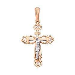 Золотой крестик в комбинированном цвете с фианитами 000129601