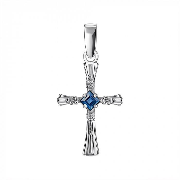 Крестик из белого золота с бриллиантами и сапфиром 000104505 000104505