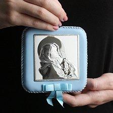 Посеребрённая детская икона Богородица с дитям для мальчиков