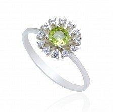 Серебряное кольцо Лидия с хризолитом и фианитами