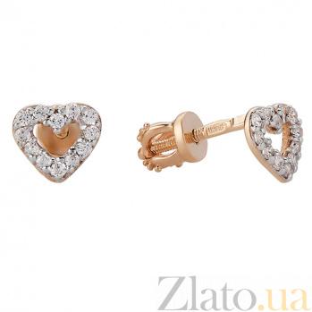 Золотые серьги-пуссеты с фианитами Сердечки LEL--80305
