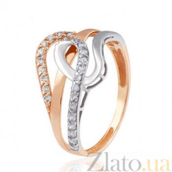 Золотое кольцо с цирконием Подарок Орфея EDM--КД0475