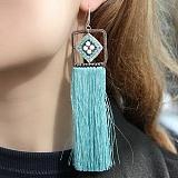Серьги-кисточки Лазурь из шелковых нитей с кварцем и кристаллами Swarovski