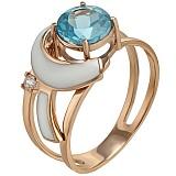 Золотое кольцо Сан-Ремо с топазом, фианитом и эмалью