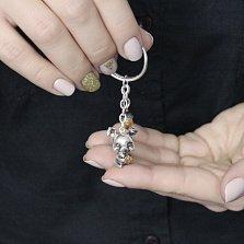 Серебряный брелок Поросенок с желудем в комбинированном цвете