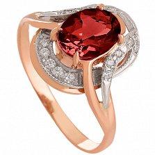 Золотое кольцо Джеральдина с гранатом и фианитами