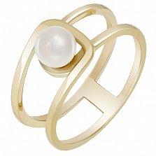 Золотое кольцо в желтом цвете с жемчугом Шум прибоя