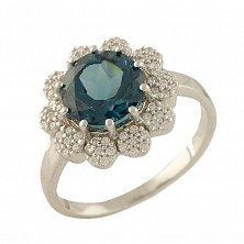 Серебряное кольцо Фабьена с топазом лондон и фианитами