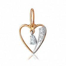 Золотой подвес с фианитами Звук сердца