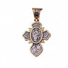 Серебряный крест Защита святых в позолоте, со сценами из Библии
