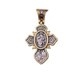 Серебряный крест Защита святых в позолоте со сценами из Библии 000088047