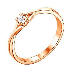 Помолвочное кольцо из красного золота с бриллиантом 000123674