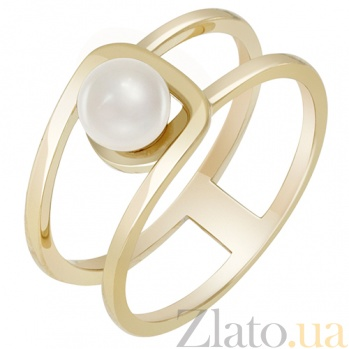 Золотое кольцо в желтом цвете с жемчугом Шум прибоя 000032803